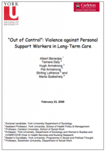 """Image of report: """"Out of control"""": violence against Personal Support Workers in LTC"""