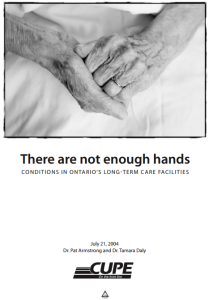 """Image of report: """"There are not enough hands: Conditions in Ontario's long-term care facilities"""""""
