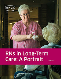 """RNs in Long-Term Care: A Portrait"" report cover. A nurse speaking with an older adult in LTC."