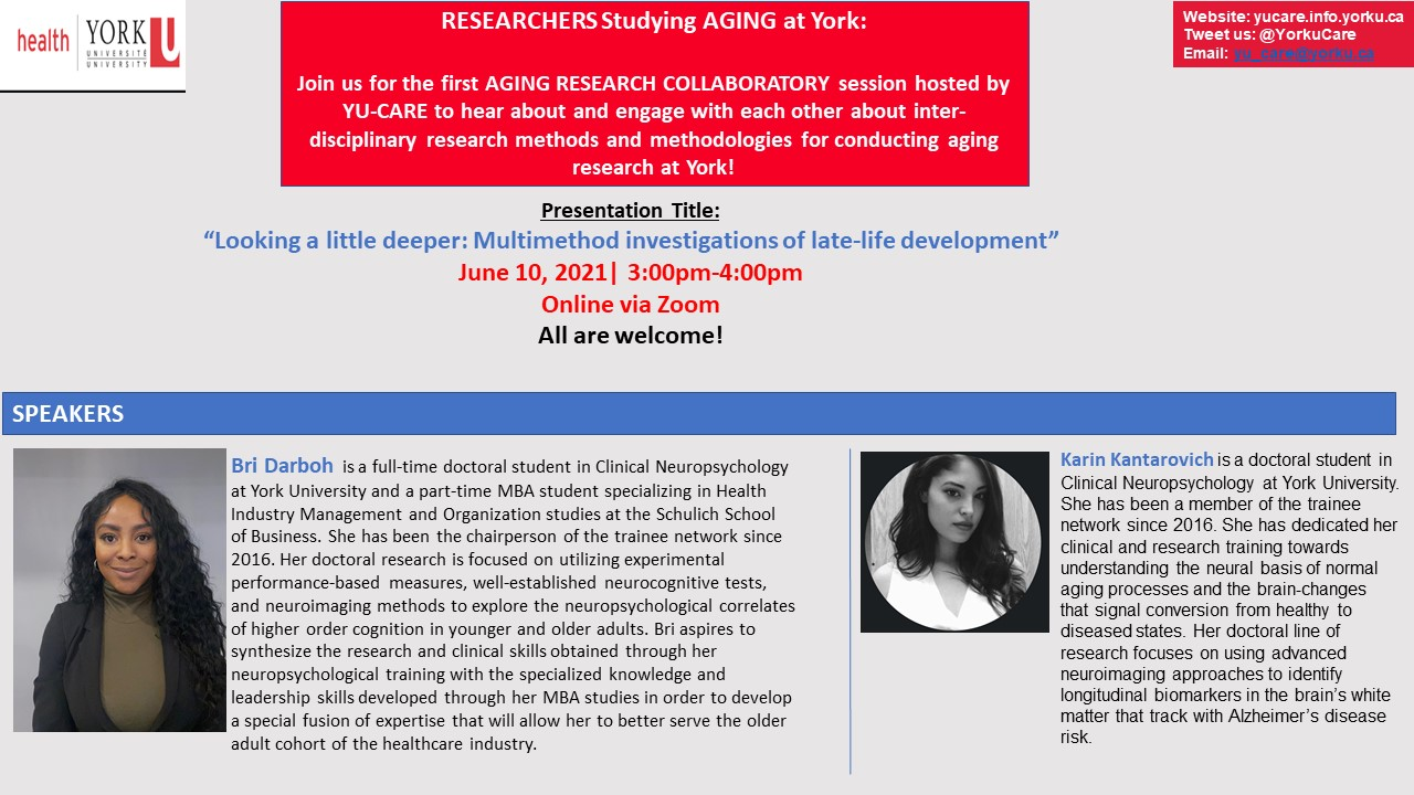 Aging Research Collaboratory Seminar with Bri Darboh & Karin Kantarovich @ Online via Zoom